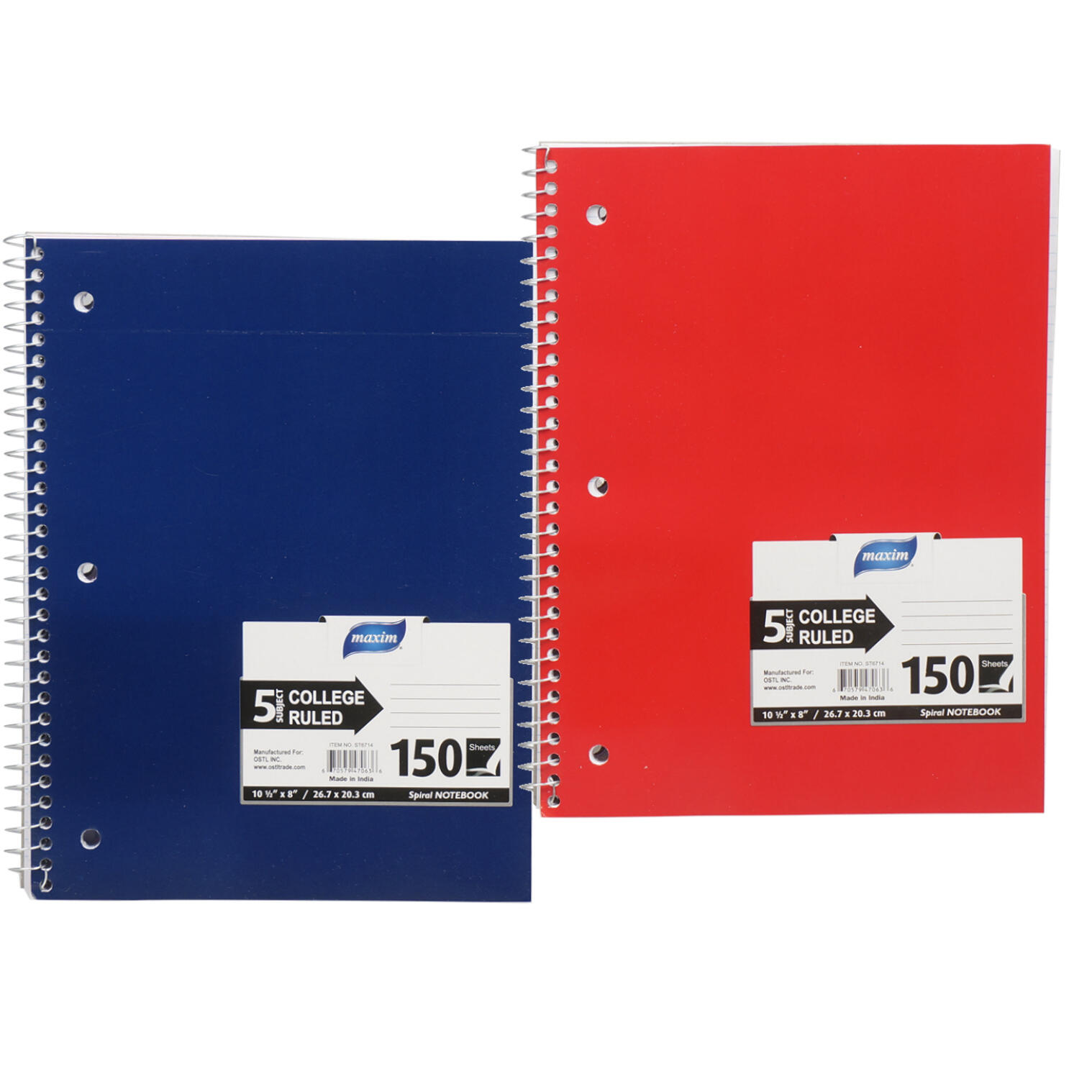 Wholesale 150 Sheet 5 Subject College Ruled Notebook | |