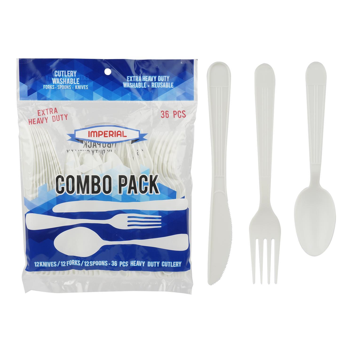 Wholesale 36 Piece Plastic Cutlery Set White