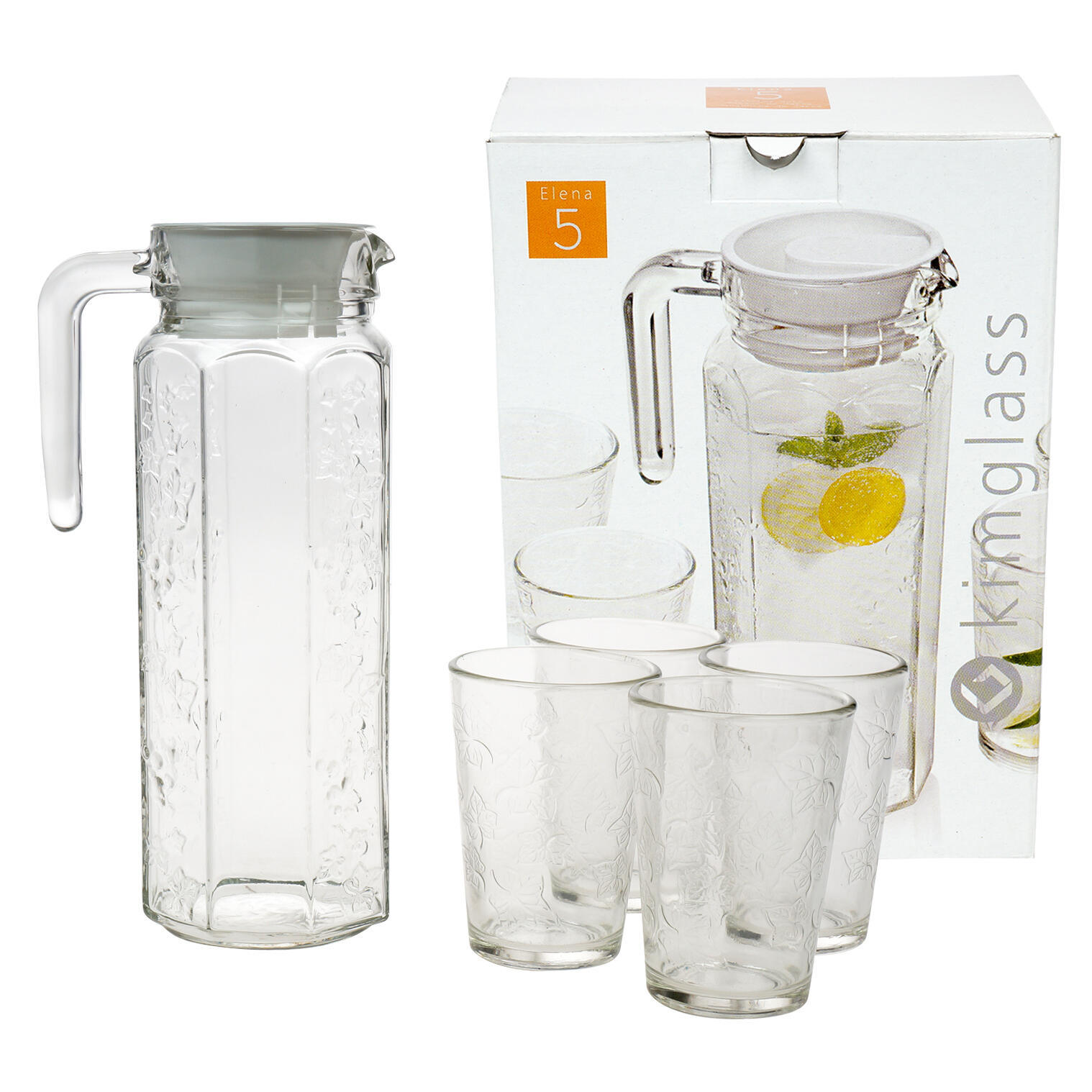 Wholesale 5 Piece Glass Pitcher Set With White Lid