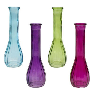 VASE,8.75''H BUD 4ASTD CLR GLAS