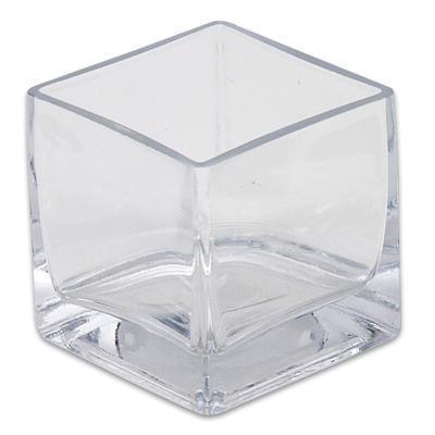 VASE,3x3x3'' SQUARE CLEAR GLASS