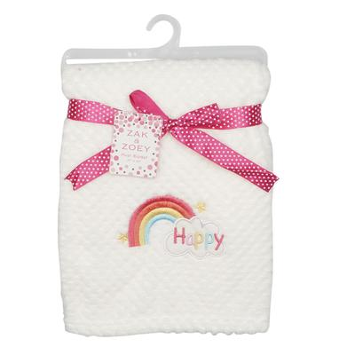 White Girls Fleece with Embroidery BLANKET