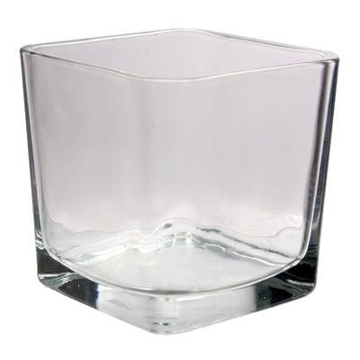 VASE,4''SQR CUBE CLEAR GLASS