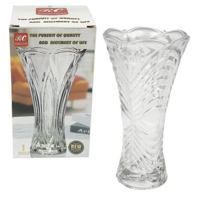 VASE, 9''H EMBOSSED CLEAR GLASS