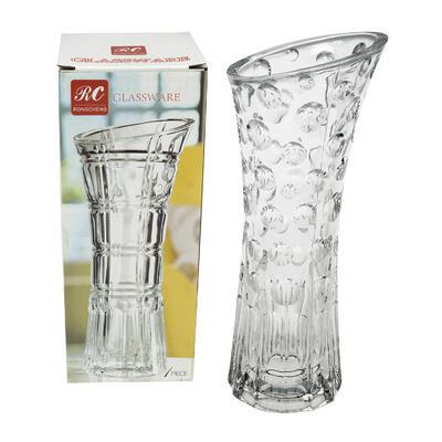 VASE,9.6''H EMBOSSED CLEAR GLAS