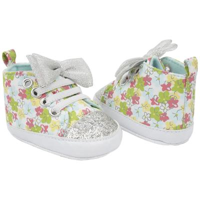 Cutie Pie Silver Baby SNEAKERS with Bow