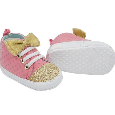 Cutie Pie Pink/Gold Baby SNEAKERS with Bow