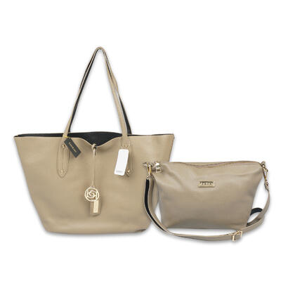 2 in 1 Taupe & Black Bebe TOTE BAG